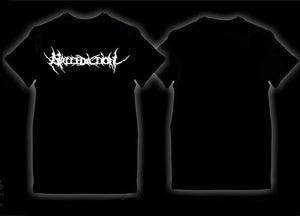 Image of Mallediction white logo (Black T-shirt)