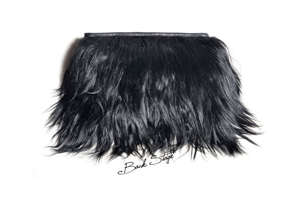 Image of Limited Edition - Black Goat Hair + Leather Clutch Fur Furry Hand Bag