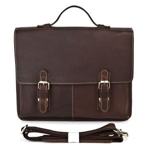 "Image of Vintage Handmade Antique Leather Briefcase / Messenger / 13"" 14"" Laptop 13"" 15"" MacBook Bag (n70)"
