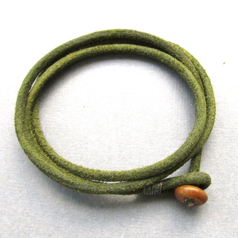 Image of Mens triple olive green leather wrap bracelet
