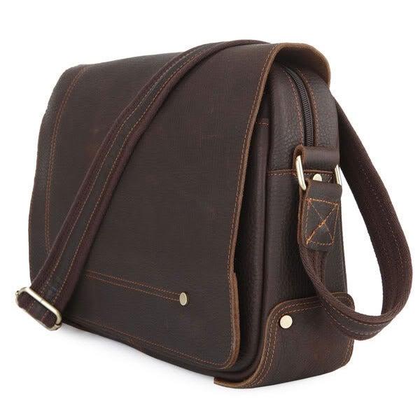 Image of Vintage Handmade Genuine Crazy Horse Leather Messenger Bag (n73)