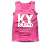 Image of Ky Raised Women's Tank in Hot Pink & White