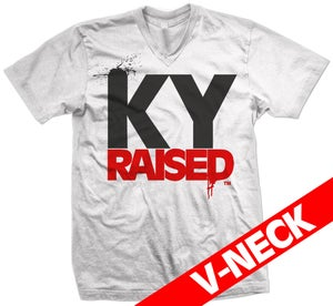 Image of KY Raised V-Neck in White/Red/Black