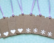 """Image of Upcycled Gift Tags - Set of 8 Chipboard Tags with Heart and Flower Cut Outs 2 3/4"""""""