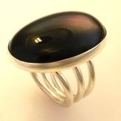 Image of Big Silver Black Onyx Ring
