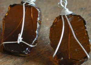 Image of Glass earrings (light brown)