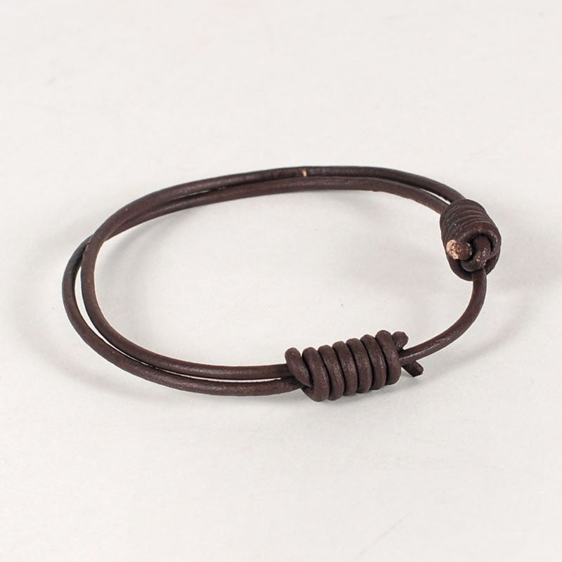 Image of Round Leather Bracelet - Russet Brown