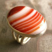 Image of Red Lace Agate Ring in Sterling Silver