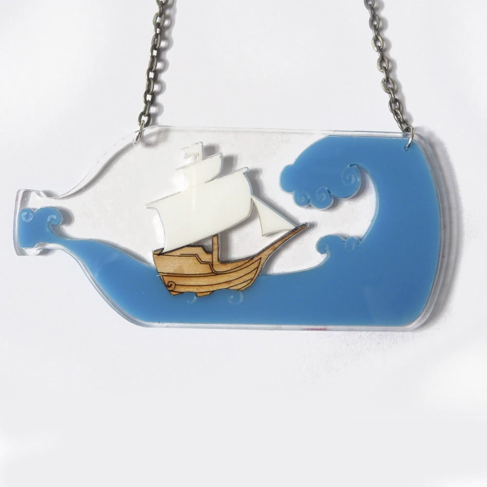 Image of Ship in a Bottle Necklace