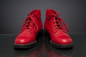 Image of VNTG Granny Grunge RED Ankle Leather Boots SZ 8M (FREE SHIPPING)