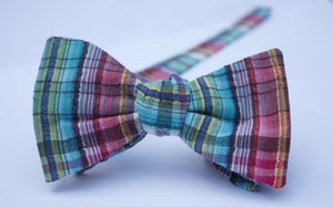 Image of Mens plaid freestyle bow tie