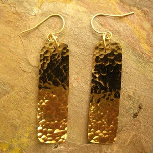 Image of Hammered Rectangular Dangle Earrings