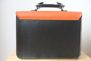 Image of Handmade Genuine Leather Satchel / Messenger Bag / Backpack - Black with Orange (s8)