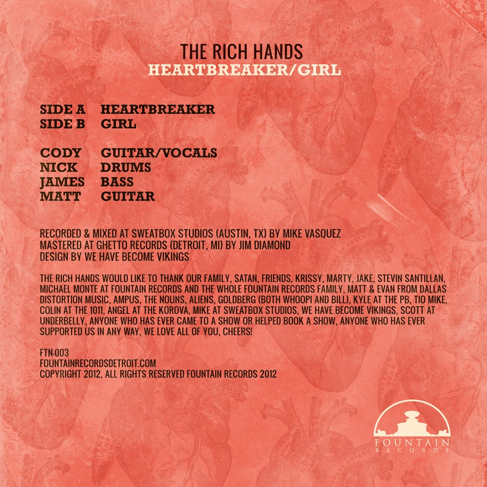 Image of FTN-003 - THE RICH HANDS - HEARTBREAKER b/w GIRL (SOLD OUT!)