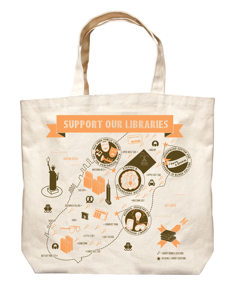 Image of Library Chic: NYC Library Map Tote