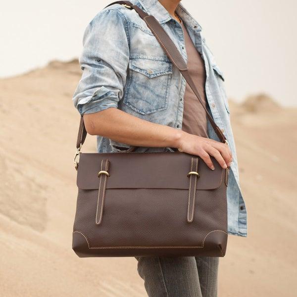 """Image of Handmade Genuine Leather Briefcase Messenger 14"""" Laptop / 15"""" MacBook Bag in Dark Brown (n4-2)"""