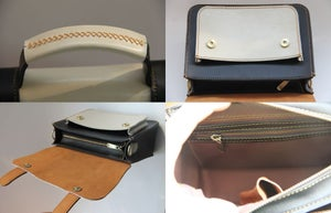 Image of Handmade Artisan Genuine Leather Women's Handbag / Satchel / Messenger Bag - Black with White (m56)