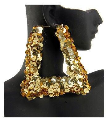 "Image of ""Nikki"" Sequin Gold Bamboo Earrings"