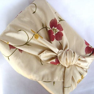 Image of myfuroshiki red floral faux silk reusable gift wrap