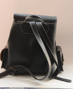 Image of Handmade Genuine Leather Backpack Day Pack Travel Bag in Black - Unisex (m33)
