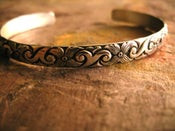 Image of Antiqued Vintage Design Silver Cuff