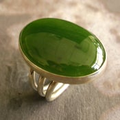 Image of Oval Nephrite Jade Silver Ring