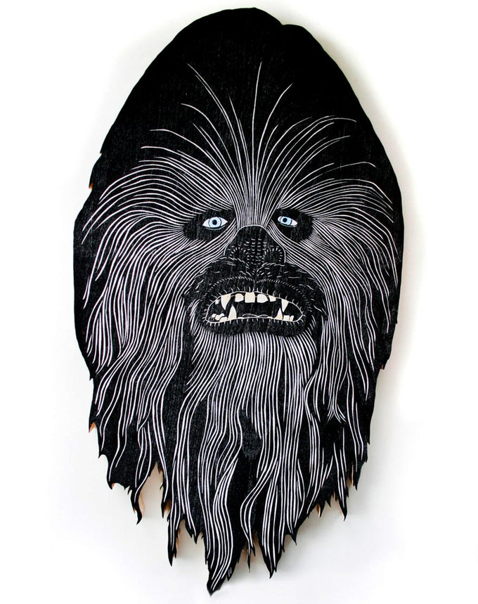 Image of Chewbacca Woodcut Sculpture Print