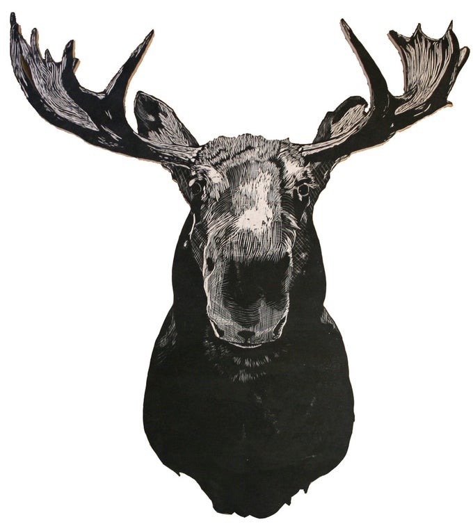 Image of Papa Kenny's Moose Woodcut Sculpture Print