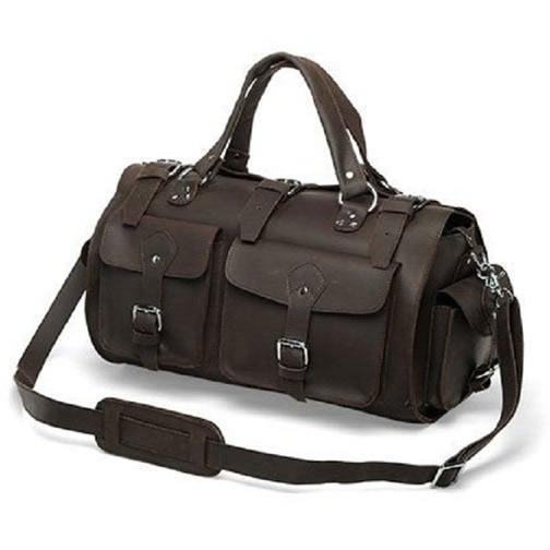 Image of Vintage Handmade Antique Crazy Horse Leather Travel Bag / Tote / Messenger / Duffle Bag (n74)