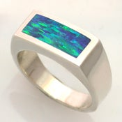Image of Mens Opal Ring in Silver