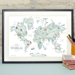 Alice Tait 'Illustrated World Map' Print - Alice Tait Shop
