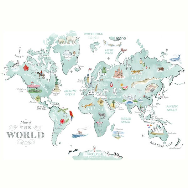 Alice Tait 'Large Illustrated World Map' Print - Alice Tait Shop