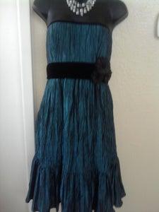 Image of Nicole Miller Teal & Black Dress sz 16
