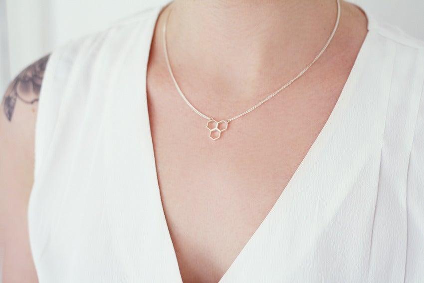 Image of Hex Trio Necklace - Silver