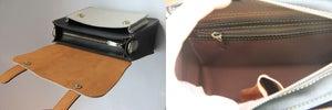 Image of Handmade Artisan Genuine Leather Women's Handbag / Satchel / Messenger Bag - Blue with White (m56-2)