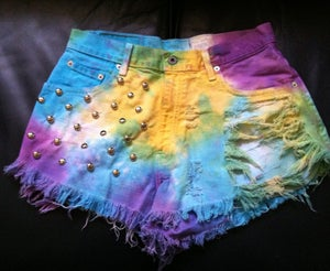 Image of Rainbow dyed cut offs