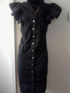 Image of Baby Phat Black Ruffle Sleeve Dress 1X