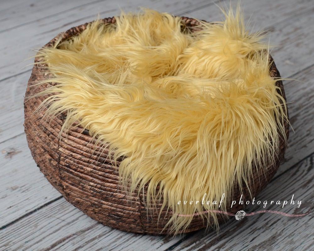 Image of Cozy faux fur nest prop - Camel