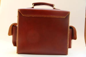 Image of Vintage Handmade Artisan Genuine Leather Satchel Briefcase Messenger Bag / Case in Brown (m8-2)