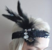 Image of 1920s black flapper headband races