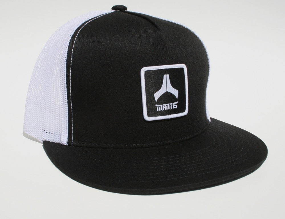 Image of Mantis Hat - Mesh Snapback / Patch / Black Front, White Mesh