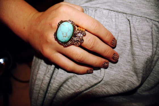 Image of Vintage Style Arty Designer Inspired Ring - Turquoise