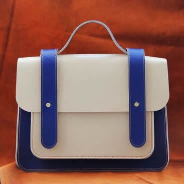 Image of Handmade Artisan Genuine Leather Women's Handbag / Satchel / Messenger Bag - Blue with White (m56-2)