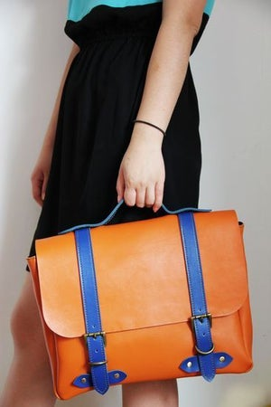 Image of Handmade Genuine Leather Satchel / Briefcase / Handbag / Messenger Bag - Orange with Blue (m43-1)