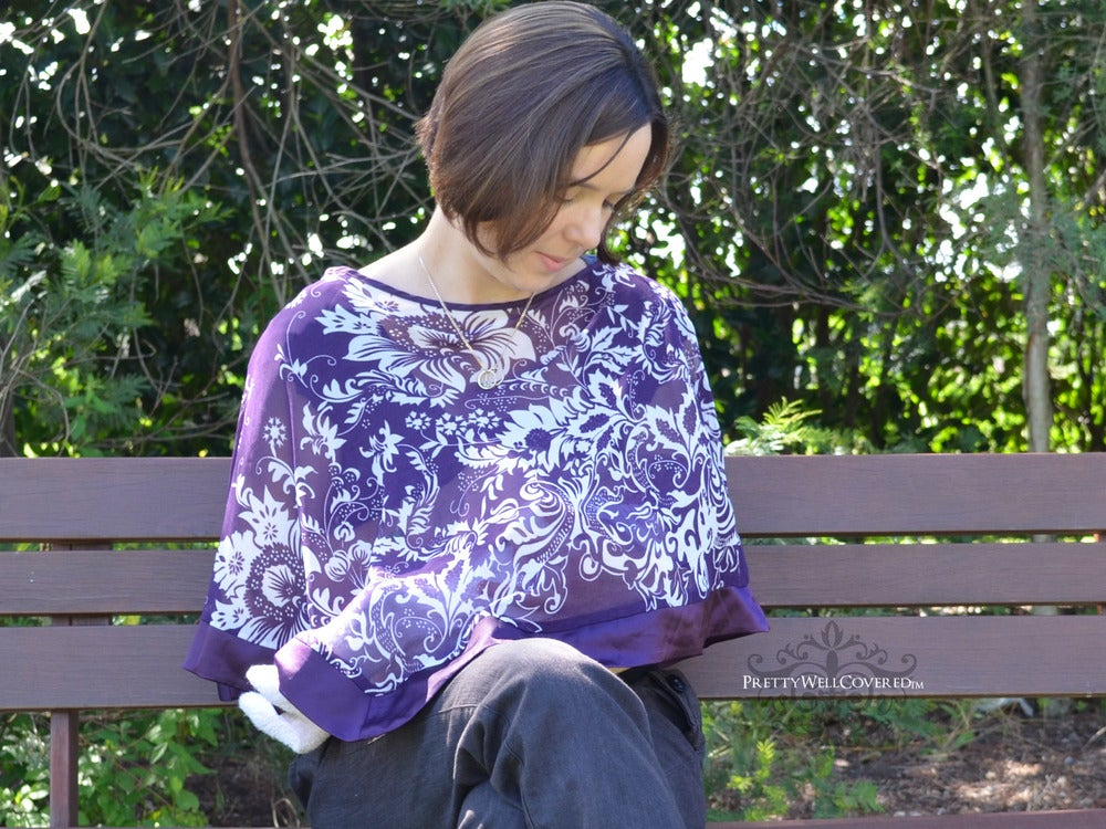 Image of Pretty Well Covered Purple Breastfeeding Coverlet / Maternity Top / Nursing Cover CLEARANCE