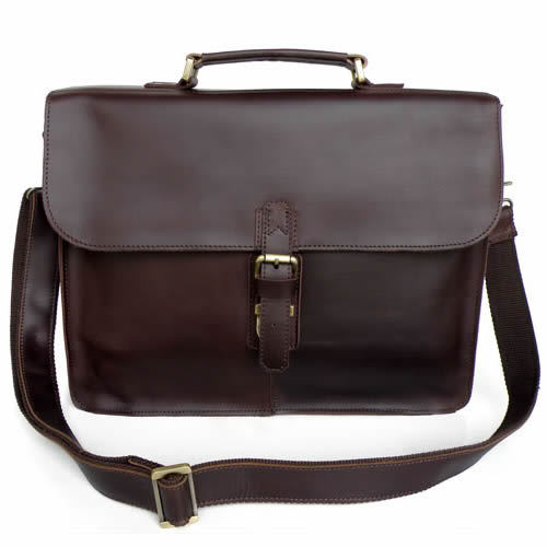 Image of Vintage Handmade Genuine Crazy Horse Leather Briefcase Laptop Messenger Bag in Dark Brown (n17)