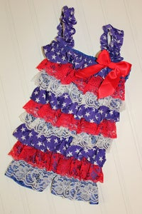 Image of Red/White/Blue Star Romper