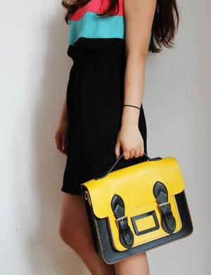 Image of Handmade Genuine Leather Satchel / Messenger Bag / Backpack - Black with Yellow (s10)