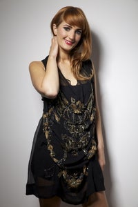 Image of Black and Gold Hand Embellished Lydia Dress