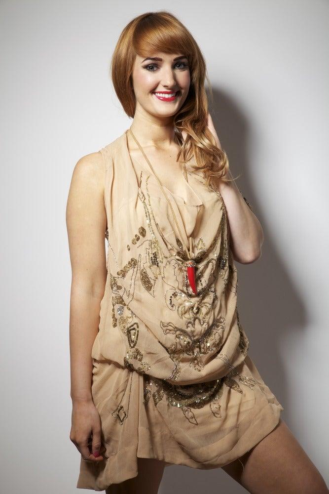 Image of Beige and Gold Hand Embellished Dress